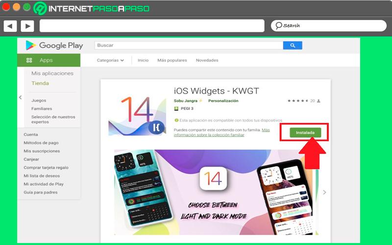 Instalar el widget en Android