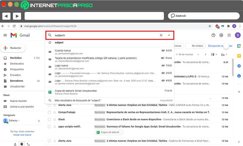 Comandos de búsqueda avanzada de Gmail