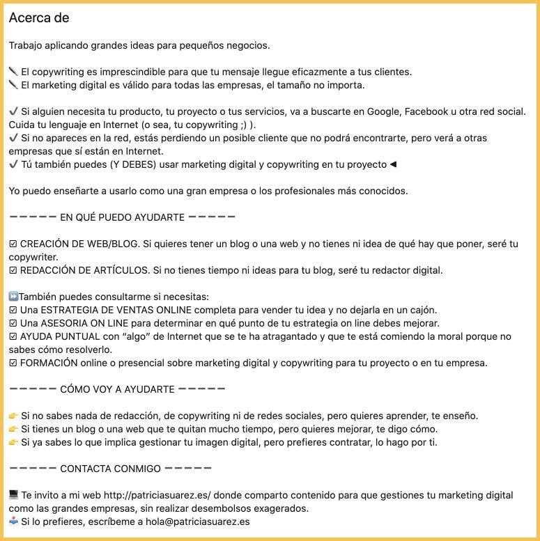 extracto con copyright para LinkedIn