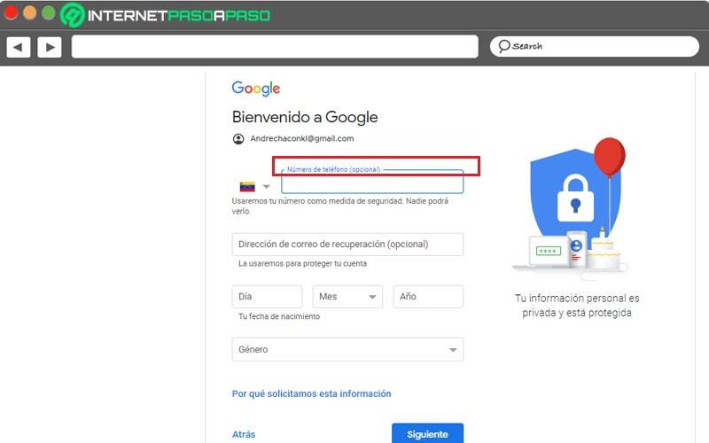 crear una cuenta de gmail sin un número de teléfono