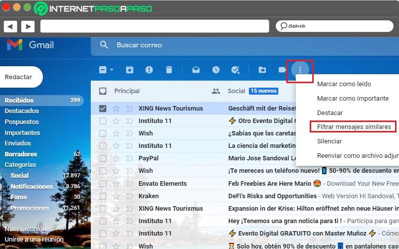 Filtrar mensajes de Gmail