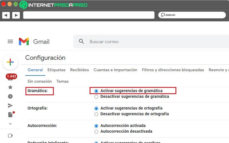 activar sugerencias gramaticales de gmail