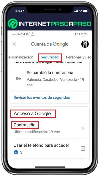 acceso a google desde teléfono móvil