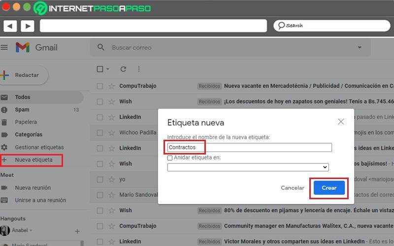 Crea una nueva etiqueta en Gmail