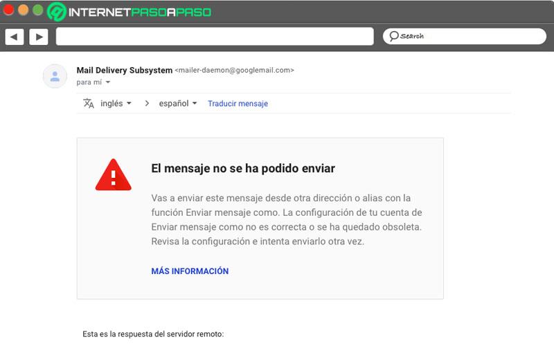 el mensaje no se pudo enviar, intente con gmail más tarde