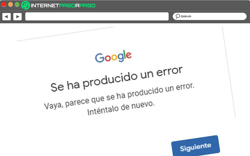 se produjo un error de gmail