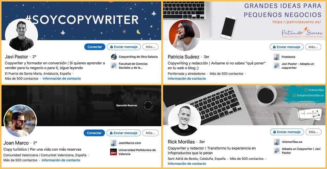 Perfiles de redactor en LinkedIn